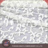 Factory direct supply hot selling embroidered applique lace chiffon fabric with a light texture