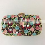 Luxury metal frame Top quality customize design colorful rhinestone Crystal clutch handbag