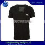 Plain black deep v neck t shirts for men factory price