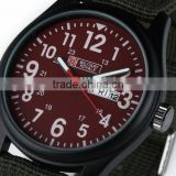 Men's Military Red Dial Green Fabric Strap Date Sport Army Watch MR058