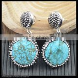 LFD-022E Wholesale Turquoise Round Shape Dangle Earring With Pave Crystal Rhinestone Charm Jewelry Druzy Earrings