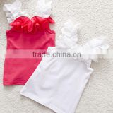 wholesale child ruffle petti tops,blank kid shirtsTank top,little girls sleeveless t-shirts,kids lace vest top tees