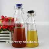 Empty soft drink glass bottle with cap swing top glass water drinking bottle glass juice bottle wholesale