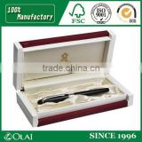 Wooden pen display box with golden logo