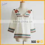 Customized fashion v-neck indian embroider blouses women clothes sexy                                                                                                         Supplier's Choice