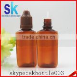 e liquid amber triangular plastic dropper bottle pet dropper bottle 30ml with childproof cap