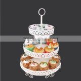 YG-1806 wrought iron color coated cake stand 3 tier elegant
