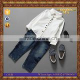 new style white shirt and jeans long sleeve fashion boy clothing