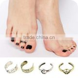 Anti-war Peace Sign Floral Foot Beach Jewelry Antique Metal Adjustable Toe Rings Wholesale
