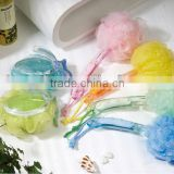 2013 Newest Promotional Multicolor Body rubbing Ball PE Mesh Bath sponge with handle,bath brush