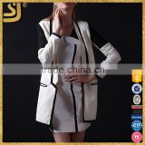 White business suit for woman, elegant wowomans cotton long coat 2016, long jacket for wowoman