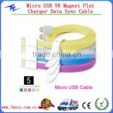 Newest Colorful Noodle Flat Magnet Micro USB Cable Charger Data Sync Cable for iPhone4/iPhone 5/Andriod smartphone