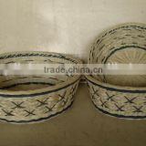 Blue Set/3 Nested Round Bamboo And Rattan Basket