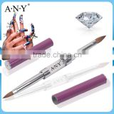 ANY Professional Nail Art Crystal Acrylic Nails Design Rhinestone Double End Two Way Acrylic Brush Pure Kolinsky
