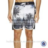 men's casual comfortable summer palm print swim shorts
