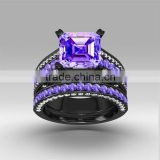 Fancy Gemstone Ring Sets Big Square Amethyst Stone Rings Couple Ring For Unsex