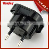 Wonplug best price 250v 6a plug adapter with safty shutter for using in Germany,France,Indonesia,Korea etc.