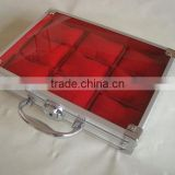 Stainless steel watch case,watch display trays with flannelette inner,aluminum pocket watch box