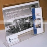 acrylic sign holder with brochure and business card pockets