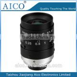 "cn AICO high resolution Manual iris 8mm F1.4 1/1.8"" megapixel machine vision c-mount lens"
