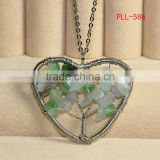 Fashion 316L stainless steel accessories natural chip stone heart pendant,shape life of tree pendants