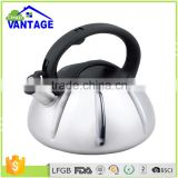 Black silicone handle water tea kettle stainless steel whistling kettle with capsulated bottom