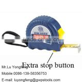 Steel Tape Measure with easy hand design and extra stop button