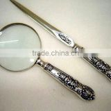 Antique Brass Magnifier Glass Paper Knife Gift set India manufacturer
