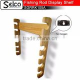 Customized Bamboo Fishing poles display shelf, 6 pcs, can fixed on wall