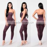 Adult Latex Bodysuit Catsuit Sexy Elastic Band Tube Top Skinny Leg Suede Bandage Romper Jumpsuits