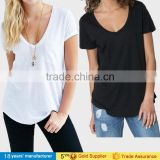 Basic blank plain white sexy style loose top plus size short sleeve v neck curved hem women cotton baggy t-shirts with pockets
