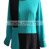 Round Collar Long Sleeve Chiffon with Black Square Blouse Tunic Dress