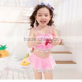Hot selling girl cute swimwear with pompoms two piece Bikini beach wear ksw-27
