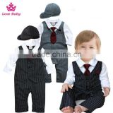 Spring and Autumn Gentlemen Boys Long Sleeve Bodysuit Necktie Stripes Rompers Baby Boys Suit