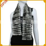 Women's new design black and white striped pattern rabbit fur scarf with real rabbit fur