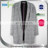 Women's casual jacquard coat with pocket