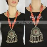 Tribal Handmade Vintage Pendant- Afghani Pearl Beaded jewelry - Designer german silver Necklace - Designer Pendant set