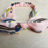 Polyester Printed Hair Band Hair for teen girls Accessories Pink Girls Ribbon Elasticity Headband For Women