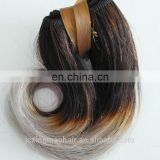 Ombre color black and gray short wavy human hair extension buy direct from china factory