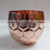 Copper Soy Candle Jar With FootBall Pattern, Rose Gold Soy Candle Cup With Soccer Theme