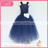 For Normal Occasion navy blue yarn party dress tulle skirt children frocks designs                                                                                                         Supplier's Choice