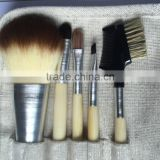 Horse hair Material wood handle face used make up brush set 5 piece