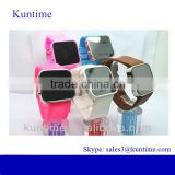 silicone wristband mirror led watch with silicone band, bright led lights,alloy watch case