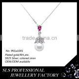 Fashion pearl chain necklace designs bridal rhodium on 925 sterling silver big pearl necklace