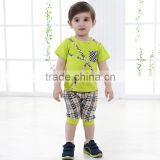 2015 Cute Baby Boys Summer T-shirt & Pants Suit Kids Breathable Absorbent Cotton 2Pcs Outfits