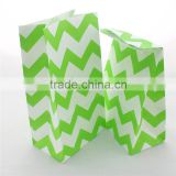 Paper Bag Wholesale Green Chevron Decorative Paper Treat Bags for baby shower wedding