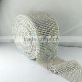 Lower Price Wholesale 10 yards/roll Ribbon Elastic Crystal Rhinestone Mesh Sheet Trimming, Stetch Rhinestone Banding