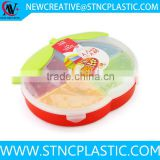 Apple shaped 8 Piece Appetizer Plastic Colour Plates Compartment Food Serving Party Tray Candy Dry Fruit Snacks