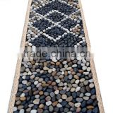 Pebble Foot Massage Mat 40*150mm BLACK Square blanket Smooth Colorful Natural Stone