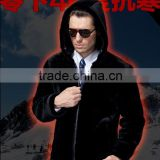 "Newest Real Sheep Fur Coats Men Black Fur Collar Coat European Wool Winter Coats Men 2014 ""11"""